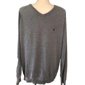 Volcom Gray Long Sleeve V-Neck Pullover Sweater XL